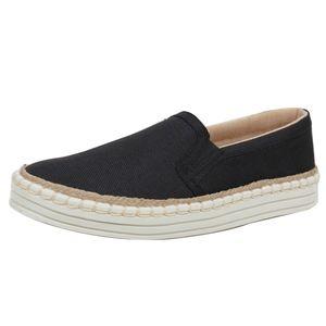 Shoes - Black Linen Espadrille Rubber Sole Loafer Slip On